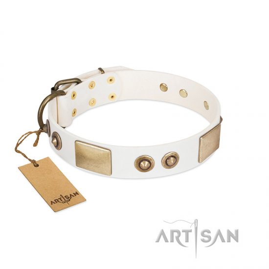 """Noble Impulse"" FDT Artisan White Leather American Bulldog Collar Adorned with Antique Plates and Studs"