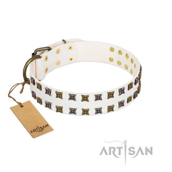 """Ice Peak"" FDT Artisan White Leather American Bulldog Collar with Silvery and Goldish Decorations"