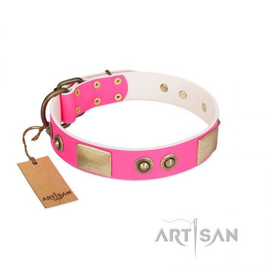 """Pink Splash"" FDT Artisan Soft Leather American Bulldog Collar with Bronze-like Plates and Medallions"
