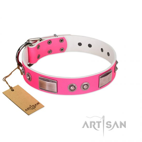"""Lady's Whim"" FDT Artisan Pink Leather American Bulldog Collar with Plates and Spiked Studs"