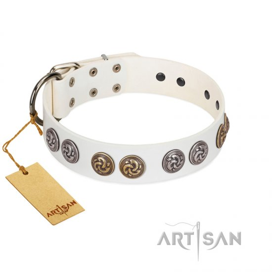 """White Moonlight"" FDT Artisan White Leather American Bulldog Collar with Elegant Decorations"