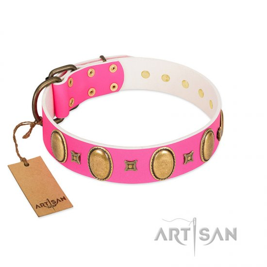 """Pawfect Lady"" Designer Handmade FDT Artisan Pink Leather American Bulldog Collar with Ovals and Studs"