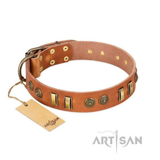 """Natural Beauty"" FDT Artisan Tan Leather American Bulldog Collar with Old Bronze-like Circles and Plates"