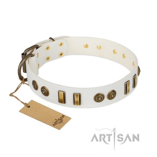 """Midsummer Snow"" FDT Artisan White Leather American Bulldog Collar with Old Bronze-like Plates and Circles"