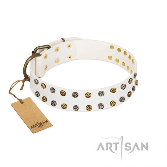 """Crystal Night"" FDT Artisan White Leather American Bulldog Collar with Two Rows of Small Studs"