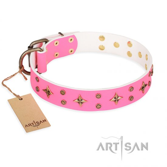 'Chi-Chi Pink Rose' FDT Artisan Leather American Bulldog Collar with Decorations