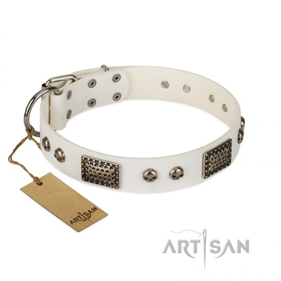 """Terrific Beauty"" FDT Artisan Beguiling White Leather American Bulldog Collar"