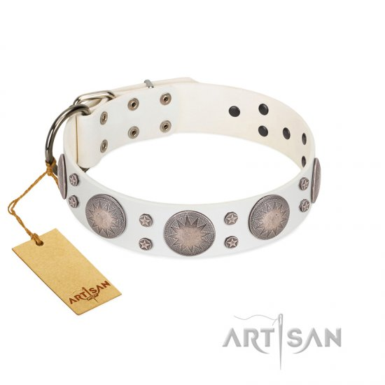 """Mystic Sunset"" Designer FDT Artisan White Leather American Bulldog Collar with Studs"