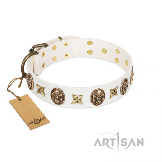"""Fads and Fancies"" FDT Artisan White Leather American Bulldog Collar with Stars and Skulls"