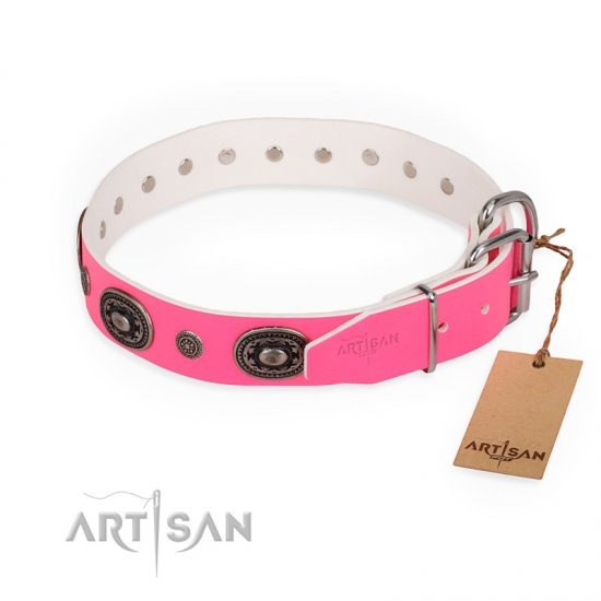 """Flavor of Strawberry"" FDT Artisan Flashy Pink Leather American Bulldog Collar"