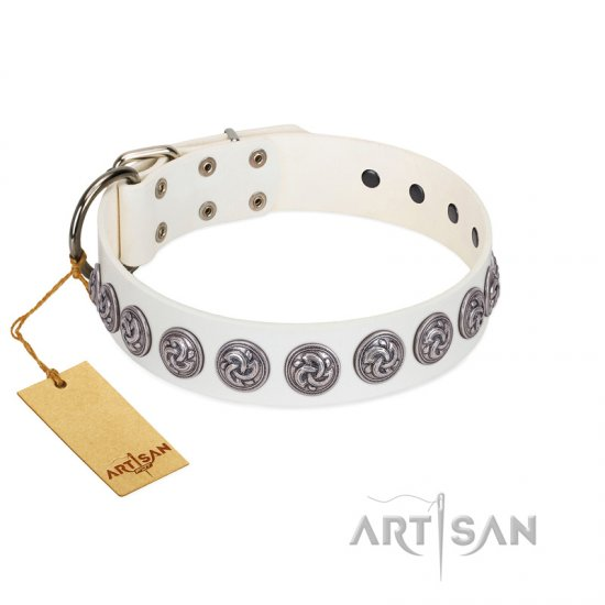 """Bohemian Spirit"" Handmade FDT Artisan White Leather American Bulldog Collar with Vintage Decorations"