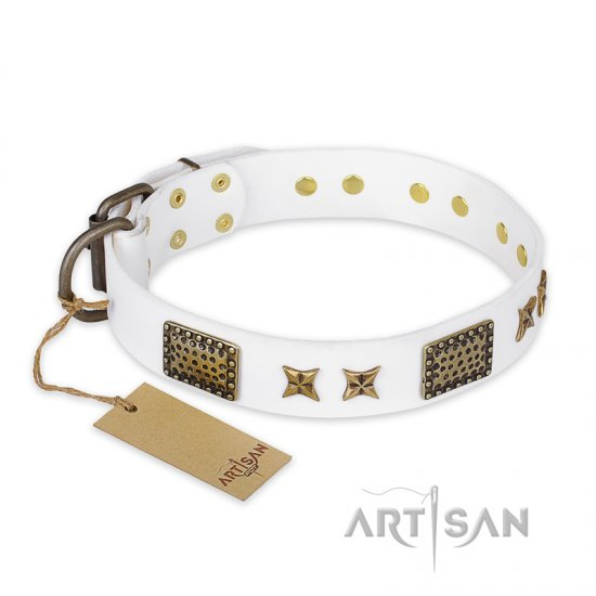 """Hour of Triumph"" FDT Artisan White Leather American Bulldog Collar"