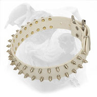 American Bulldog Leather Collar with Spikes