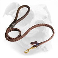 Braided Leather Dog Leash for American Bulldog