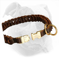 Braided Leather Choke Collar with Quick Release Buckle for American Bulldog