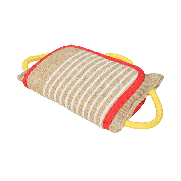Strong Jute Bite Pillow with 3 Handles for American Bulldog
