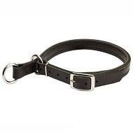 Wide Stitched Leather Choke American Bulldog Collar for Obedience Training