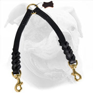 Braided Leather Dog Coupler for Walking 2 American Bulldogs