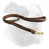Braided Leather Dog Leash with 2 Handles for American Bulldog