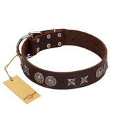 """Antique Style"" Designer Handmade FDT Artisan Brown Leather American Bulldog Collar"