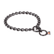 """Fur Protector"" Black Stainless Steel American Bulldog Choke Collar - 1/6 inch (4 mm) wire diameter"