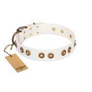 """Moonlit Stroll"" White FDT Artisan Leather American Bulldog Collar with Antique Decorations"