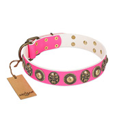 """Two Extremes"" FDT Artisan Pink Leather American Bulldog Collar with Elegant Conchos and Medallions with Skulls"