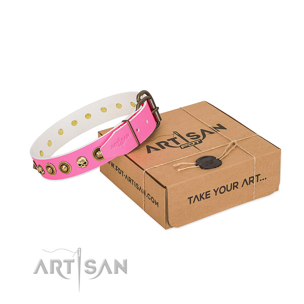 Natural leather collar with incredible adornments for your doggie