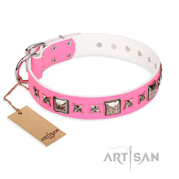 Full grain genuine leather dog collar made of reliable material with corrosion resistant D-ring