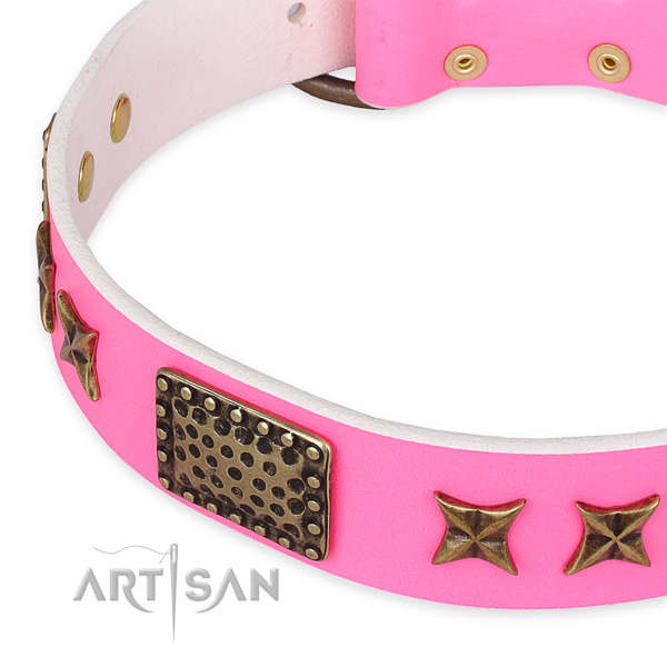 Natural genuine leather collar with reliable traditional buckle for your stylish doggie
