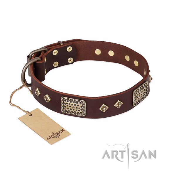 Easy adjustable full grain natural leather dog collar for walking