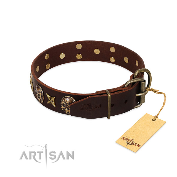 Genuine leather dog collar with corrosion proof fittings and adornments