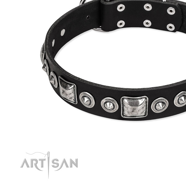 Full grain genuine leather dog collar made of reliable material with decorations