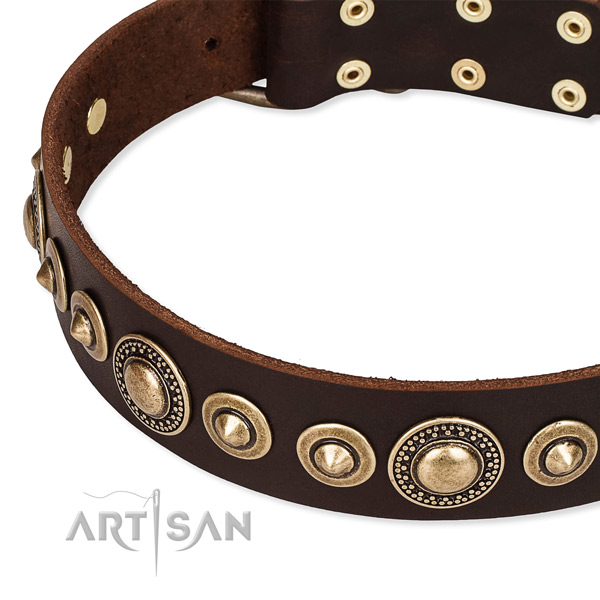 Flexible natural genuine leather dog collar handcrafted for your impressive dog