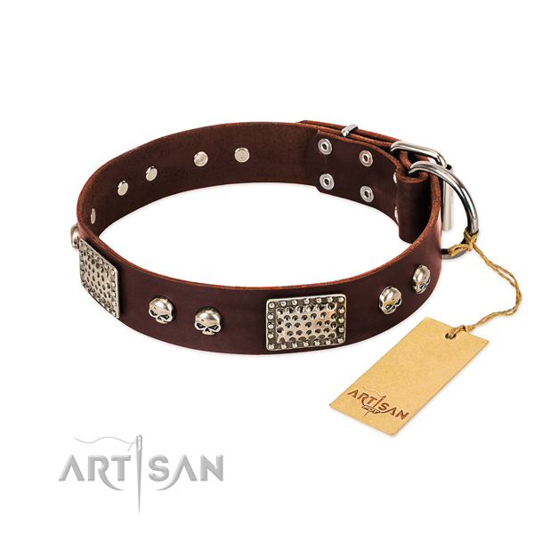 Adjustable natural genuine leather dog collar for walking your doggie