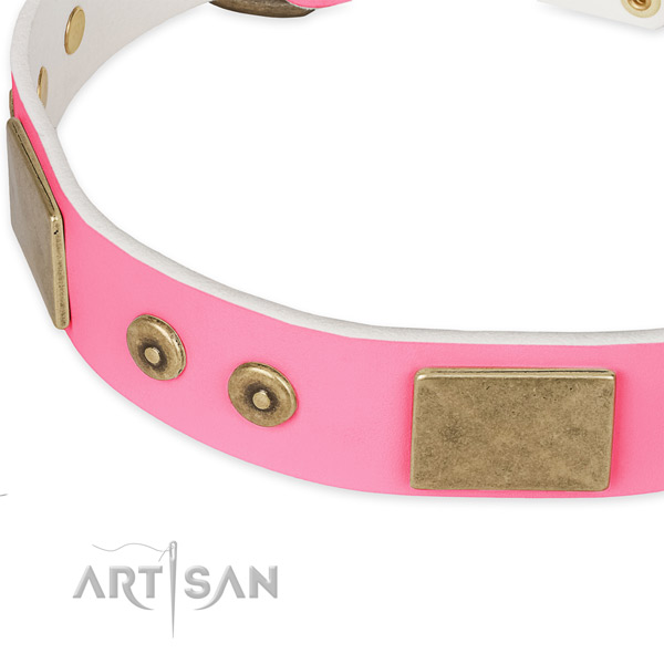 Full grain genuine leather dog collar with studs for comfy wearing