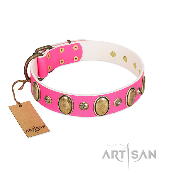 Easy wearing reliable genuine leather dog collar with decorations