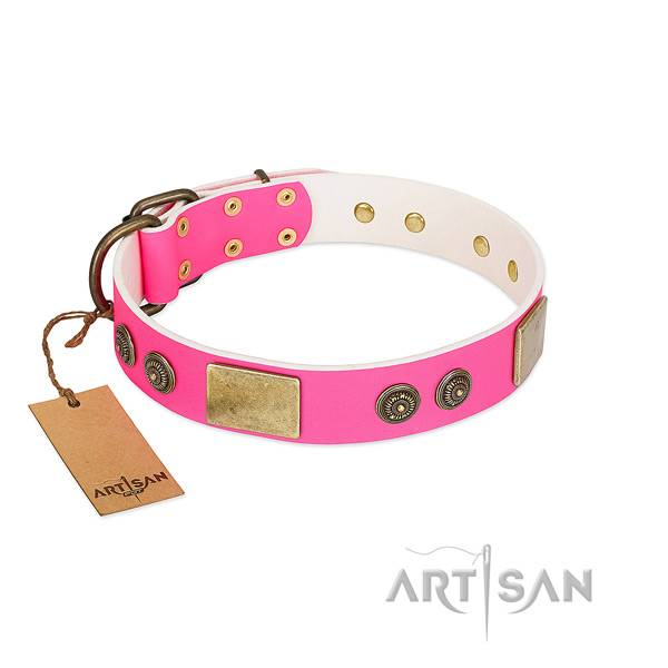 Handmade genuine leather dog collar for handy use