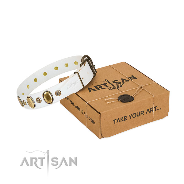 Adjustable natural leather dog collar with strong D-ring