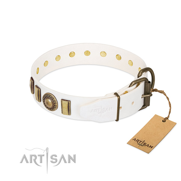 Strong full grain leather dog collar created for your dog