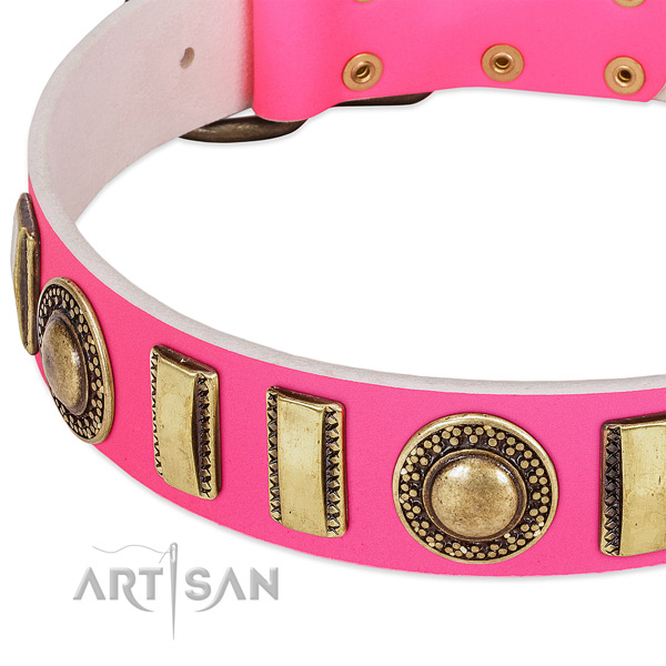 Durable full grain genuine leather dog collar for your beautiful canine