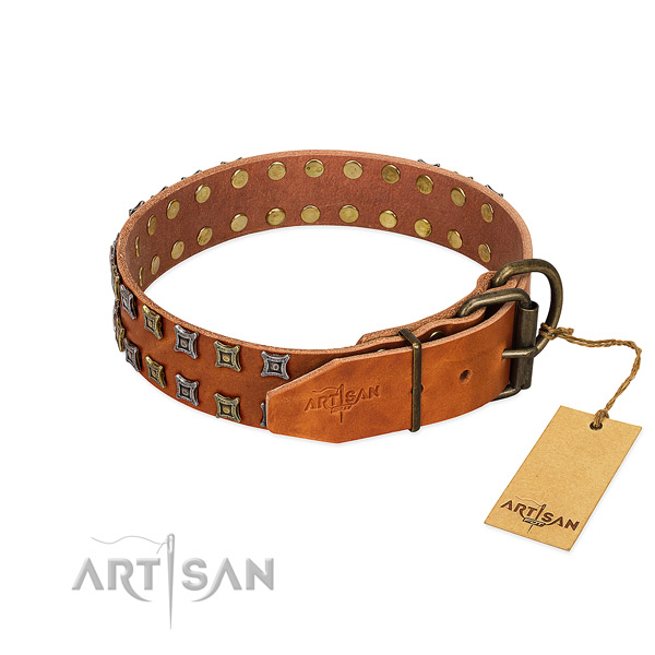 Soft to touch full grain leather dog collar crafted for your doggie