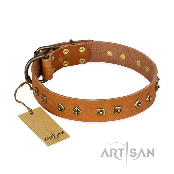 Best quality full grain leather dog collar with corrosion resistant D-ring