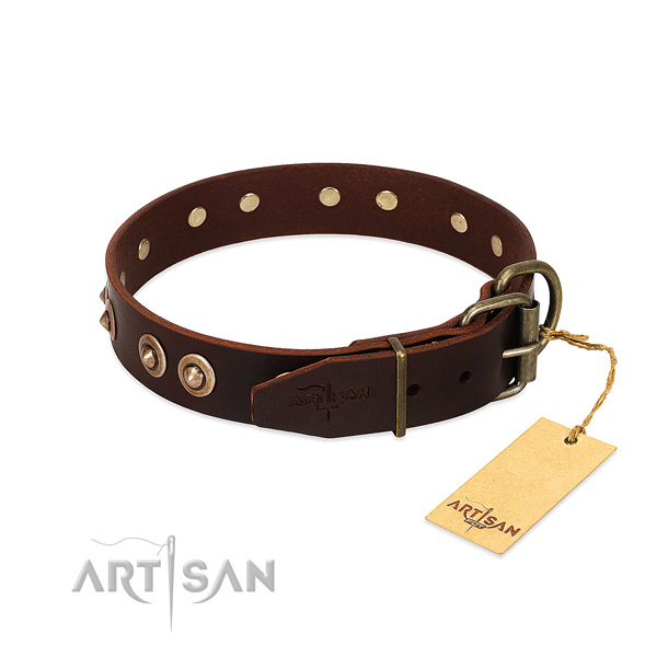 Rust resistant D-ring on full grain natural leather dog collar for your canine