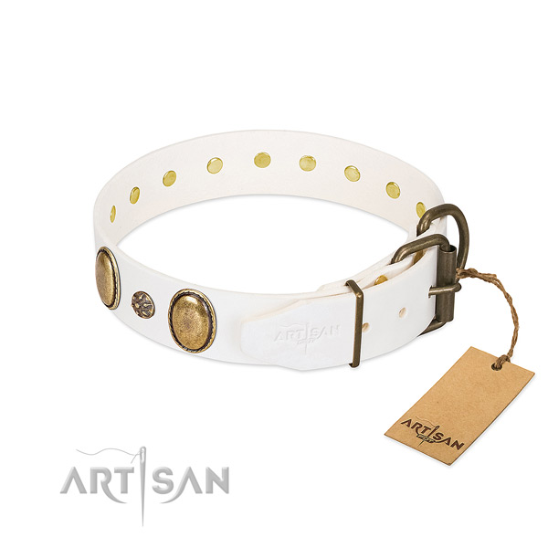 Handy use soft to touch natural genuine leather dog collar