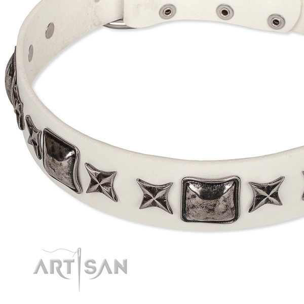 Easy wearing embellished dog collar of strong full grain genuine leather
