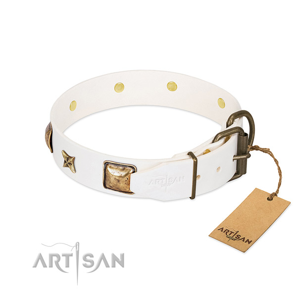 Genuine leather dog collar with corrosion proof D-ring and decorations