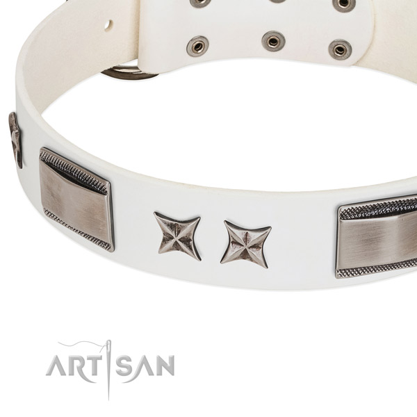 High quality genuine leather dog collar with durable hardware