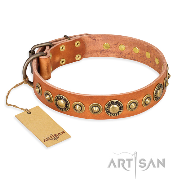 Gentle to touch full grain leather collar handmade for your canine
