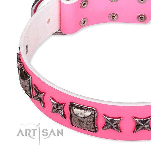 Fancy walking adorned dog collar of reliable full grain natural leather